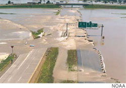 Highway 54 just north of Jefferson City, Missouri, submerged by the Great Flood of 1993
